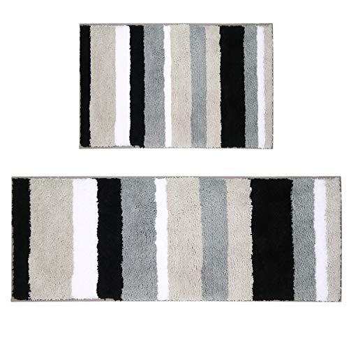 Pauwer Microfibra Bagno tappetini Antiscivolo Lavabile Tappeto Bagno Microfibra Nero 45 * 65+45 * 120