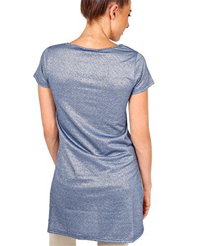 KRISP® Damen Asymmetrisches Lurex Longshirt Blau (5149)