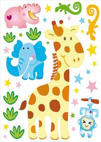 infactory Sticker-Sets: Tierisch lustige Wandtattoos fürs Kinderzimmer Kenia (Wandtattoo)