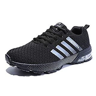 Kuako Men Women Running Shoes Air Trainers Fitness Casual Sports Walk Gym Jogging Athletic Sneakers (UK 7.0, Black)
