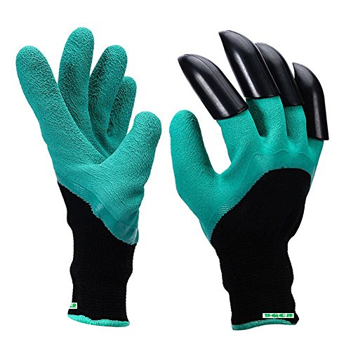 Garten Genie Handschuhe mit Krallen der Handschuhe auf beide Hände Schnell für Graben und Bepflanzen, leicht zu graben und die Pflanze Sicher für Rose Beschneiden -