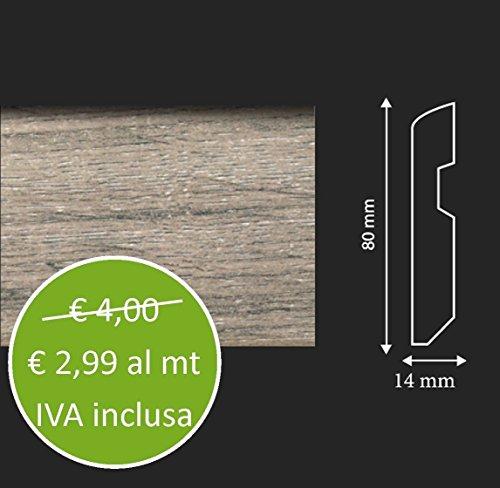 Battiscopa in MDF Rovere Sbiancato - Asta da 240 cm Pavimento Laminato