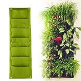 Dailyinshop Jardinera Verde Vertical Jardinera de Pared Planting Flower Grow Bag 7 Bolsillo (Color: Verde)