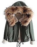 Minetom Damen Warm Verdicken Winterjacke Mantel Mit Plüsch Kapuze Winddicht Tasche Tunnelzug Kurze Parka Gezeichnet Jacke Outerwear