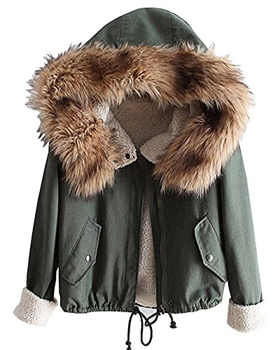 Minetom Damen Mädchen Winterjacke Jacke Mantel mit Kapuze Grün DE 36