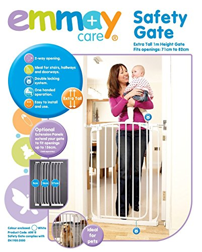 Emmay Care® Children Kids Baby Pet Stair Doorway Pressure Mount Metal Safety Gate - Extra Tall 1M 1 Metre Height (White)
