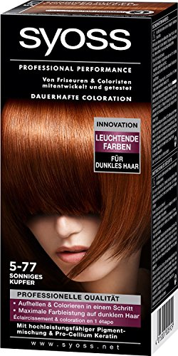 3x Syoss Professional Performance Dauerhafte Coloration/ 5-77/ sonniges Kupfer/ Haarfarbe/ pro Cellium Keratin