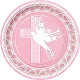 Unique Rosa Taube Kreuz Papier Teller–8Stück