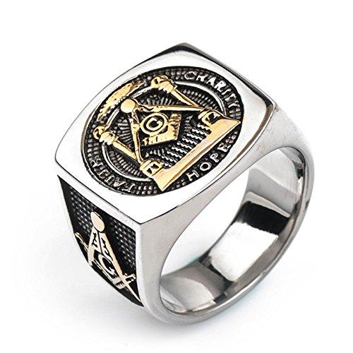 Blisfille Ringe Herren Silber Ringe Edelstahl Herren Silber Herren Edelstahl Titanring Titan Freimaurer Ring Silber - Ringe Diamant Freimaurer
