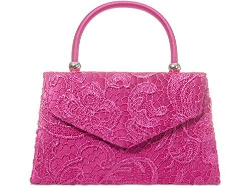 fi9® BNWT, borsetta a mano in stile rétro floreale, da sera, per matrimoni e feste Multicolore (rosa)