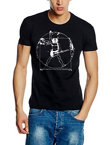DA VINCI GUITAR ROCK ! T-Shirt schwarz-weiss Gr.M (Da Vinci Guitar Shirt)