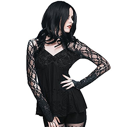 Gothic Steampunk Backless Roses Lace T-shirt Black Sexy V-neck Tops With Cuff (S, Black) steampunk buy now online