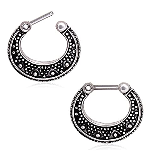 1.2mm Thickness Vintage Dot Work Adorned Surgical Steel Septum Clicker Nose Ring 6mm Length