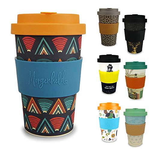Morgenheld Dein trendiger Bambusbecher   Coffee-to-Go-Becher   Kaffeebecher mit Schraubdeckel und Banderole in coolem Design 400 ml Füllmenge (Ethno)