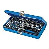 Silverline 868524 - Juego de llaves de vaso métricas 3/8', 20 pzas