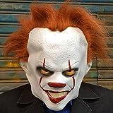 DRSMDR Halloween Kostüm Party, Cosplay Horror Maske, Weißes Gesicht, Gelbes Haar, Rote Lippen, Rote Nase, Gelbe Augen Horror Maske