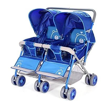 Silla de paseo tándem Cochecito de muñeca para los gemelos Cochecito doble tandem-cochecito Twin Jogger Oxford
