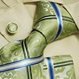 H5102 Green Checkers Business Handsome Presents Silk Ties Cufflinks Hanky Set 3PT By Y&G