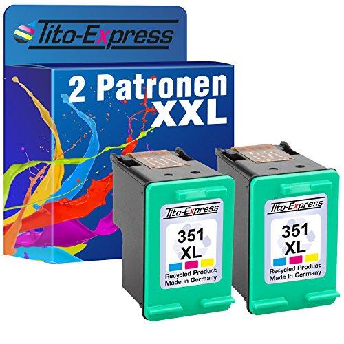 Tito-Express PlatinumSerie 2 Patronen für HP 351 XL Color Officejet J6424 J6450 J6480 Photosmart C4200 C4225 C4270