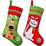 2 Medias Navideñas de Mascotas Decoración de Calcetines de Navidad de Mascotas con Dibujo de Perro Gato de Bordado Medias Colgantes de Chimenea para Decoración de Navidad de Perro (Estilo Conjunto 1)