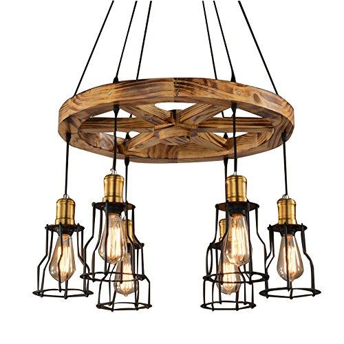 Runde Holz Kronleuchter Anhänger 6 Lichter dekorative Leuchte Retro rustikale antike Deckenleuchte (sechs Lichter)