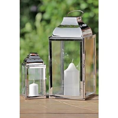 2er-Set Laterne Edelstahl Silber Metall Glas - H20/36cm von Boltze bei Du und dein Garten