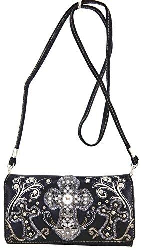 Blancho Biancheria da letto delle donne [Motivo Sacro] borsa di cuoio elegante di modo Tote Bag Black Wallet-Nero