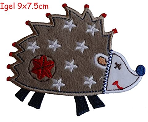 2 Ecussons patch appliques Hérisson 9X7Cm L'Attitude Red Star 9X9Cm thermocollant brode broderie pour vetement jeans veste enfant bebe femme avec dessin TrickyBoo Zurich Suisse pour France