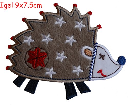 2 iron-on fabric Patches Teddy 6x9 and Hedgehog 9x7.5cm TrickyBoo Design Zurich