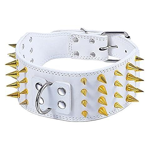 unihubys Defian Doré Pointes clouté collier pour chien–New Fashion Collier pour chien en cuir–7,6cm Largeur pour moyens et grands chiens