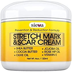 Stretch Marks & Scars Cream – Best for Stretch Mark Removal - Body Moisturizer for Prevention and Reduction of Old & New Scars - Natural & Organic for Pregnancy, After Birth, Women, & Men - By Sieva Skincare