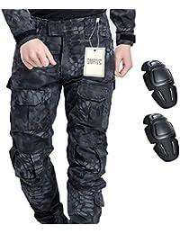 Pantaloni militari, QMFIVE Uomo Camo combattimento Combat BDU Pantaloni da combattimento Pantaloni con ginocchiera per Tactical Military Army Airsoft Paintball