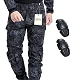 Pantalon militaire, QMFIVE Hommes Camouflage Combat Combat BDU Pantalon de Combat Pantalon avec kneepadpour Armée Militaire Tactique Airsoft Paintball