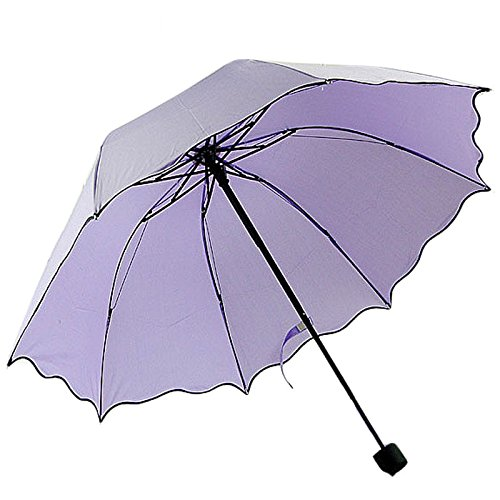 ombrello, aFEITONG UPF> 40, uva <5%, livello 6 balza di loto pieghevole lascia cupola principessa ombrellone sole / pioggia impermeabile ombrello poliestere (Viola)
