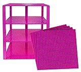 Strictly Briks - Stapelbare Premium-Bauplatten - kompatibel mit Allen großen Marken - geeignet für Turm-Konstruktionen - Set aus 4 Platten - je 10' x 10' (25,4 x 25,4 cm) - Magenta