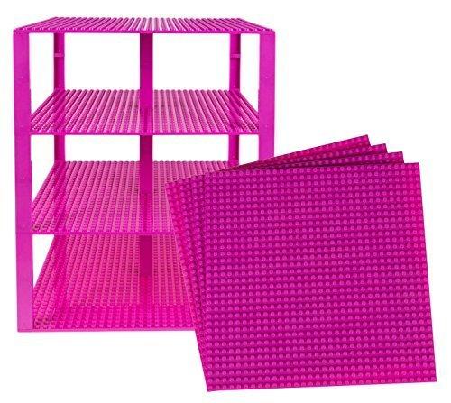 """Stapelbare Premium-Bauplatten - inkl. neuen verbesserten Bausteinen mit 2 x 2 Noppen - kompatibel mit allen großen Marken - geeignet für Turm-Konstruktionen - Set aus 4 Platten - je 10"""" x 10"""" (25,4 x 25,4 cm) - Magenta"""