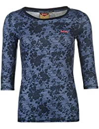 Lee Cooper Damen Texturiert 3/4 Arm T Shirt Baumwolle All Over Print Tee Top