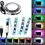 #10: eTopxizu 3.28Ft Flexible 5050 RGB LED Strip Light with 5v USB Cable And Mini Controller For Background Lighting