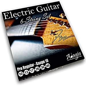 Adagio Pro ELECTRIC GUITAR Strings – Gauge 10 – Light Nickel 10-46 String Pack/Set Ball Ends .010 – .046