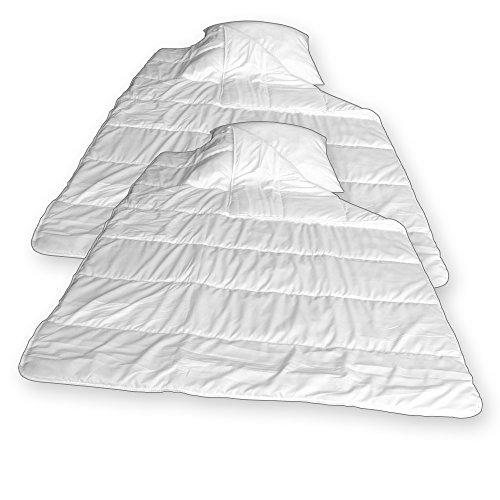 Bettwaren - Oberbetten mit Kopfkissen Set bestehend aus 2 Bettdecken 135x200cm und 2x Kissen 80x80cm waschbar bis 40 Grad