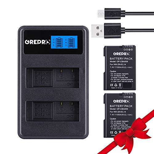 EN-EL15 Ersatzakku Akku 2000mAh (2-Stück Ersatzakku) mit USB-Dual Ladegerät für Nikon 1 V1, D7100, D750, D7000, D7200, D810, D610, D800, D600, D800e, D810a