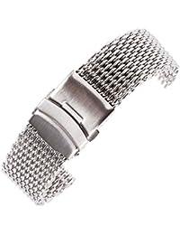 20 mm de plata pulsera de la correa de banda de repuesto de metal de acero inoxidable Milanese bucle de malla para reloj de lujo