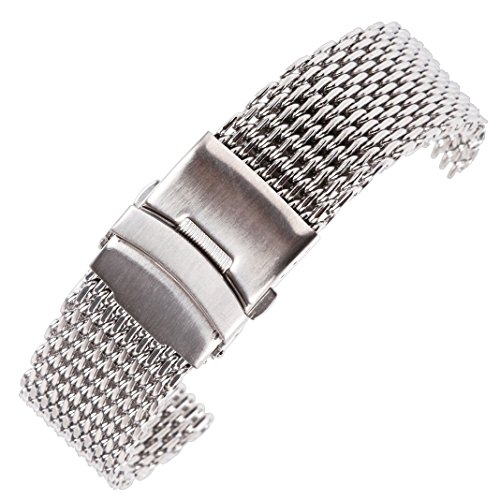 20mm Silber Mesh-Schleife milanese Edelstahl-Metall-Ersatzband Armband Gürtel für Luxusuhr (Swatch Invicta)