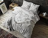 Bettwäsche Sleeptime My Deer Love, 135cm x 200cm, Mit 1 Kissenbezüg 80cm x 80cm, Grau