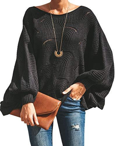 ECOWISH Damen Herbst Trägerlos Lose Oversize Langarm Top Sweatshirt Gestreift Pullover 023 Schwarz 01 M