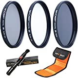 K&F Concept 55mm UV CPL ND4 Lens Accessory Filter Kit UV Protector Circular Polarizing Filter Neutral Density Filter for Sony A37 A55 A57 A65 A77 A100 DSLR Cameras + Cleaning Pen + Filter Bag Pouch