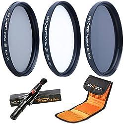 58MM UV CPL ND4 - K&F Concept 58MM Juegos de Filtros (58mm filtro UV, 58mm filtro polarizador, 58mm filtro de densidad neutra) Filtro Lente para Canon Nikon + Pluma de Limpieza + Bolsa para 3 Filtros