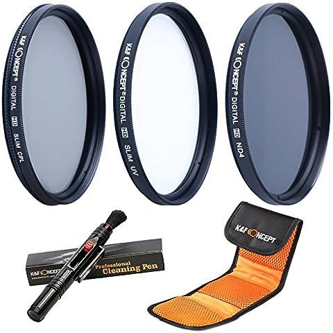 K&F Concept 72mm UV CPL ND4 Filtro Kit de Accesorios de Lente UV Protector Polarizador circular Filtro Densidad Neutra Filtro para Canon 7D 60D 70D 500D para Nikon D7000 D600 D300 D800 D7100 para Sony A77 NEX 5 DSLR Cámaras + Pluma de Limpieza + Bolsa de