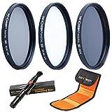 K&F Concept 58MM UV CPL ND4 58MM Juegos de Filtros (58mm filtro UV, 58mm filtro polarizador, 58mm filtro de densidad neutra) Filtro Lente para Canon Nikon + Pluma de Limpieza + Bolsa para 3 Filtros