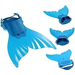 3 Pièces Maillot de Bain Princesse Queue de Sirène Mermaid Bikini(Il y a la Boucle au Bas de la Queue,Pouvez Ouvrir pour Marcher ou Fermer pour Ajouter Monopalme) (Taille Unique, Couleur Unique)